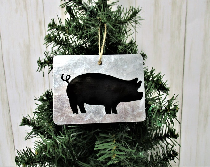 Christmas Ornament, Pig Christmas Ornament, Galvanized Christmas Ornament, Country Christmas Ornament, Pig Decor, Farm Animals