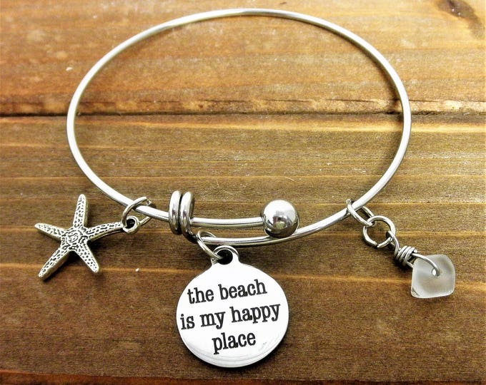 The Beach is My Happy Place Charm Bracelet, Sea Glass Charm, Starfish Charm, Beach Charms, Tropical Jewelry, Gift For Her, Christmas Gift