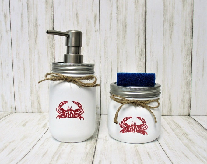 Red Crab Mason Jar Kitchen Set, Soap Dispenser, Sponge Holder, Crab Lover,  Beach Kitchen Decor, Crab Decor, Beach Decor, Mason Jar Decor