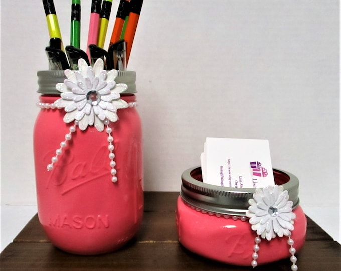 Mason Jar Desk Set, Vanity Set, Bathroom Set, Desk Accessories, Shabby Chic, Business Card Holder, Pen Holder, Pink Decor, Graduation Gift