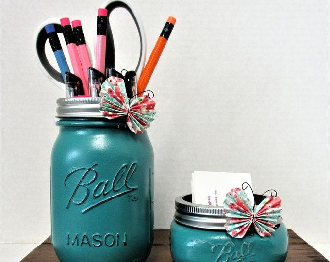 Mason Jar Desk Set, Butterfly Decor, Desk Set Accessories, Vanity Set, Bathroom Set, Country Chic Decor, Business Card Holder, Pen Holder