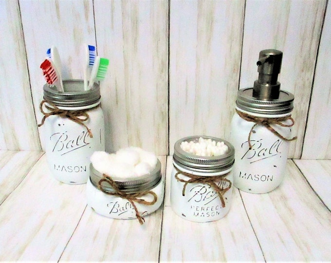 Mason Jar Bathroom Set, White Bathroom Set, Vanity Set, Desk Set, Wedding Gift, Farmhouse Bathroom, Home Decor, Country Decor, Rustic