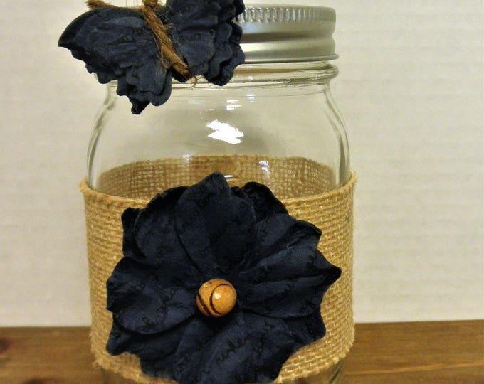 Mason Jar Burlap Navy Flower / Navy Butterfly Vase / Wedding Decor / Home Decor / Bathroom Decor / Navy Blue Decor / Shabby Chic Decor