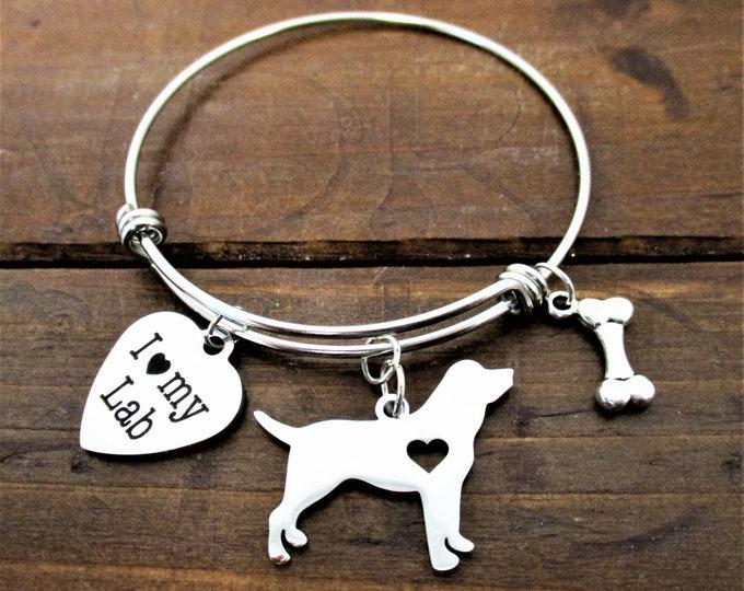 Laborador Retriever Dog Charm Bracelet, Dog Charm Bracelet, I love my Lab, Dog Jewelry, Dog Mom Gift, Christmas Gift