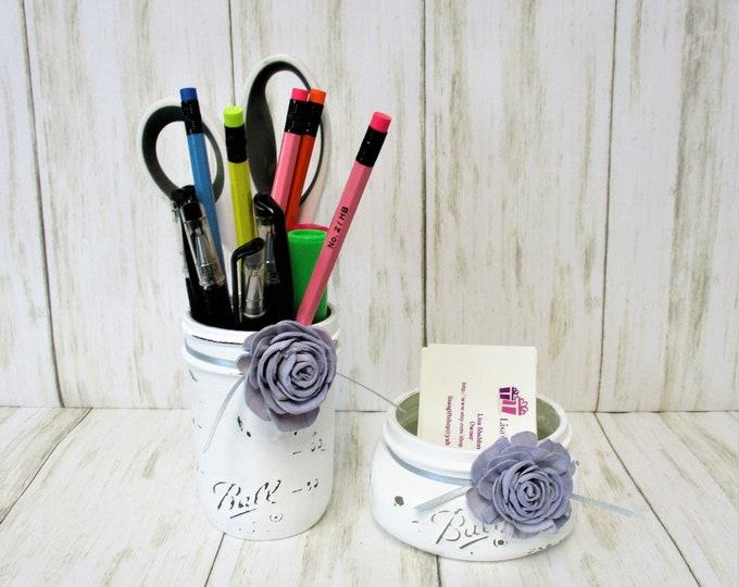Mason Jar Desk Vanity Set, Sola Wood Flower Decor, Bathroom Set, Desk Accessories, Country Chic Decor, Business Card Holder, Pen Holder