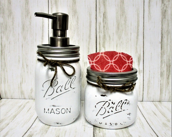Mason Jar Kitchen Set, Kitchen Decor, Soap Dispenser, Sponge Holder, Rustic Kitchen, Farmhouse Decor, Rustic Decor