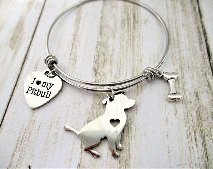 Pitbull Dog Charm Bracelet, Pit Bull Jewelry, Pitbull Lover Gift, Dog Jewelry, Dog Lover Gift, Dog Mom, Mothers day Gift