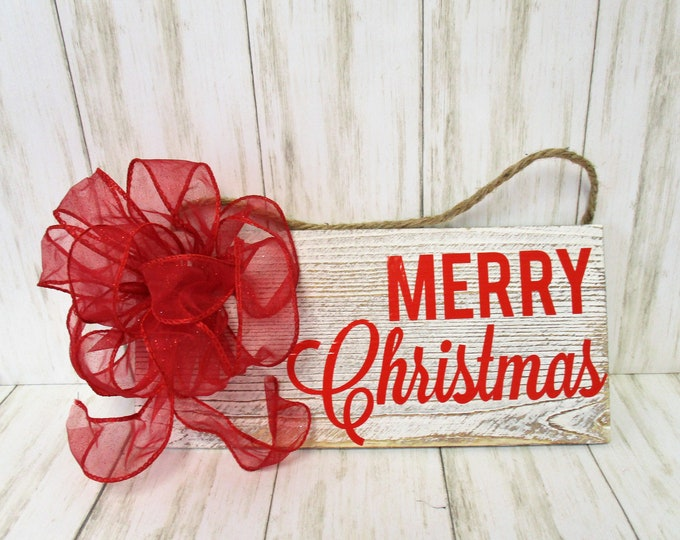 Merry Christmas Wood Sign, Christmas Wall decor, Red Merry Christmas, Christmas Decor, Home Decor, Red Bow, Country Christmas