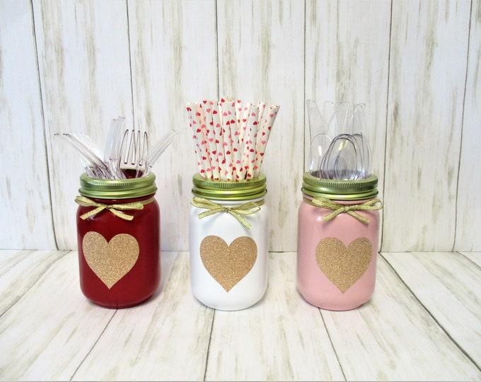 Valentines Day Centerpiece, Party Utensil Holder, Valentine's Day Decor, Party Decor, Mason Jar Decor, Baby Shower Centerpiece, Heart Decor