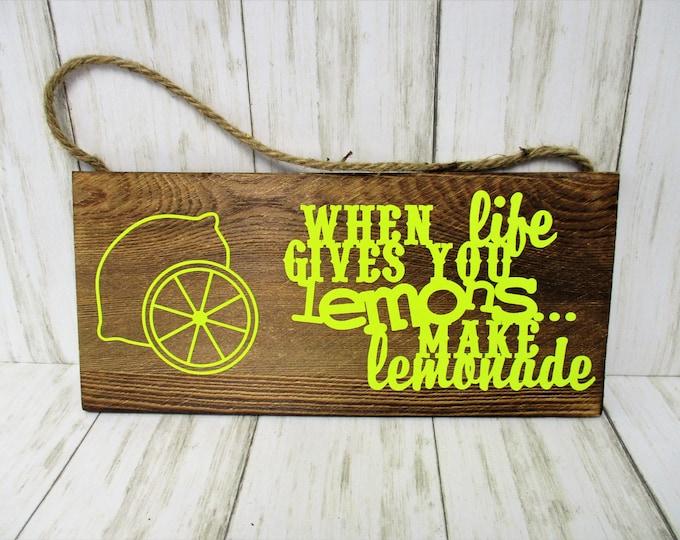 Lemon Decor, Lemon Wall Sign Decor, Lemon Sign, Lemons, Lemonade Decor, Home Decor, Kitchen Decor, Housewarming Gift