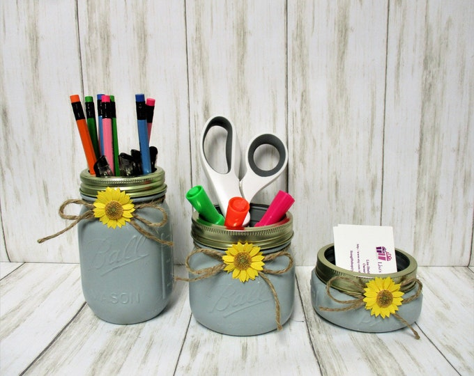 Mason Jar Desk Set, Vanity Set, Bathroom Set, Desk Accessories, Country Chic Decor, Business Card Holder, Pen Holder, Sunflower Decor, Gift