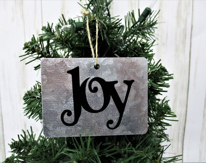 Joy Christmas Ornament, Galvanized Christmas Ornament, Christmas Ornament, Farmhouse Christmas Ornament, Country Christmas, Rustic