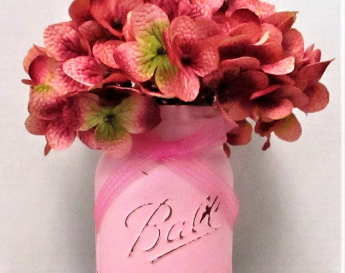 Pink Mason Jar Centerpiece, Shabby Chic Decor, Wedding Decor, Baby Shower, Home Decor, Farmhouse Decor, Get Well Soom Gift, Country Chic