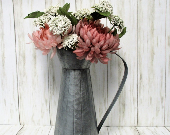 Galvanized Watering Can Centerpiece with Flowers, Fall Decor, Farmhouse Decor, Flower Arrangement, Home Decor, Country Rustic Decor