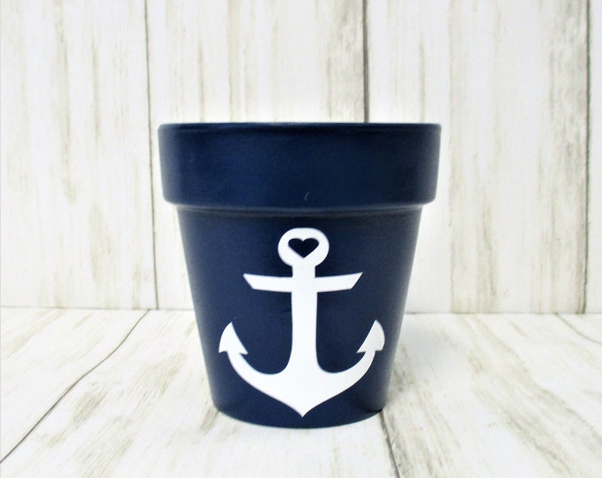 Mini Anchor Beach Flower Pot, Garden Herb Planter Pot, Home Decor, Succulent Planter, Beach Decor