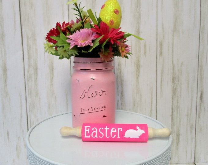 Easter Bunny Mini Rolling Pin Tiered Tray Decor, Farmhouse Kitchen Decor, Pink Decor, Country Kitchen, Home Decor, Housewarming Gift