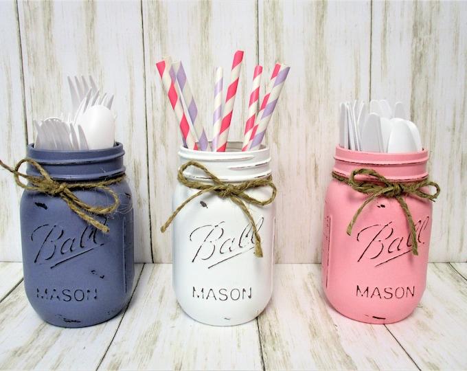 Mason Jar Decor, Party Decorations, Centerpiece, Baby Shower Decor, Wedding Decor, Bridal Shower Decor, Centerpiece, Pink Lavender White