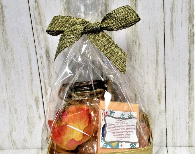 Peach Bath and Body Gift Set, Sugar Scrub, Goats Milk Soap, Exfoliating Scrub, Bridesmaid Gift, Spa Product, Bridal Shower Gift, Bath Set