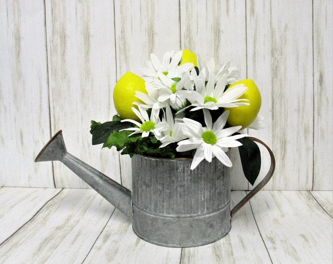 Lemon Decor Centerpiece Galvanized Watering Can, Lemons, Daisies, Farmhouse Decor, Country Decor, Country Chic Decor, Flower Arrangement