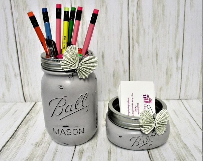 Mason Jar Desk Set, Vanity Set, Bathroom Set, Desk Accessories, Country Chic Decor, Business Card Holder, Pen Holder, Gray Decor, Butterfly