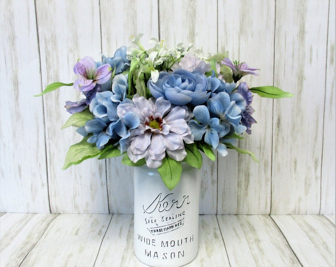 Mason Jar Centerpiece, Blue Flower Arrangement, Farmhouse Decor, Home Decor, Country Decor, Country Chic Decor, Farmhouse Decor