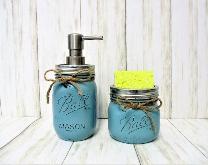Mason Jar Kitchen Set, Kitchen Decor, Soap Dispenser, Sponge Holder, Rustic Kitchen, Farmhouse Decor, Rustic Decor