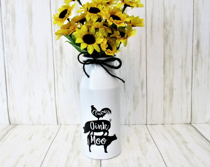 Farmhouse Animal Milk Jug  Sunflower Flower Arrangement, Metal Milk Bottle, Farmhouse Decor, Shelf Decor, Mother's Day Gift