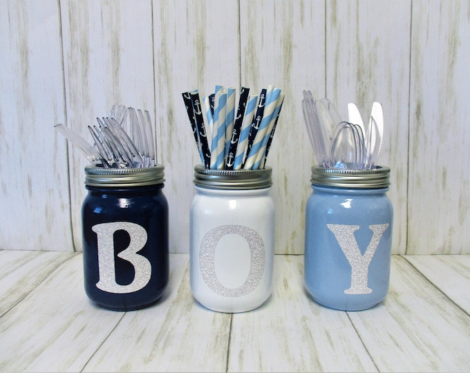Baby Boy Shower Centerpiece Decor, Baby Shower Decor, Party Decorations, Utensil Holder, Centerpiece, Mason Jar Decor