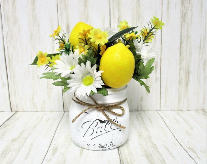 Lemon Decor Daisy Centerpiece, Country Centerpiece, Mason Jar Centerpiece, Kitchen Decor, Country Decor, Mothers Day Gift