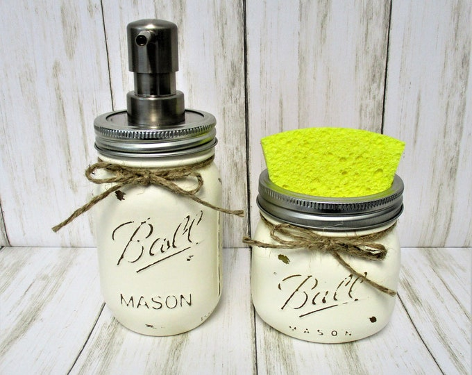 Mason Jar Kitchen Set, Soap Dispenser, Sponge Holder, Rustic Kitchen, Farmhouse Decor, Rustic Decor, Country Kitchen