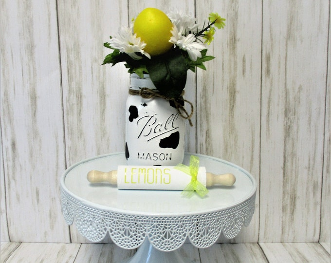 Lemons Mini Rolling Pin Tiered Tray Decor, Farmhouse Kitchen Decor, Lemon Decor, Country Kitchen, Home Decor, Housewarming Gift