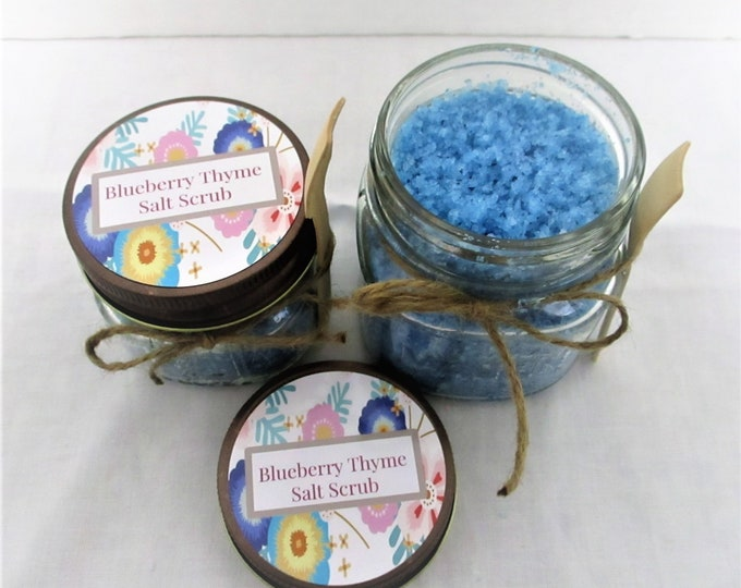 Blueberry Thyme Salt Scrub, Salt Scrub,  Exfoliating Scrub, All Natural Salt Scrub, Bridesmaid Gift, Spa Product, Baby Shower Favor