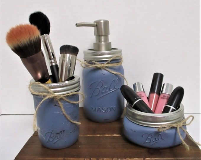 Mason Jar Bathroom Set, Rustic Bathroom, Farmhouse Bathroom, Vanity Set, Farmhouse Decor, Blue Gray, Bathroom Jars, Bathroom Organization