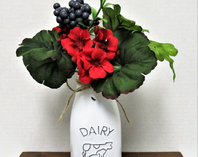 Cow Milk Bottle Decor, Christmas Cow Decor, Flower Vase, Milk Bottle, Dairy Bottle,  Country Chic Decor, Farmhouse Decor, Country Christmas
