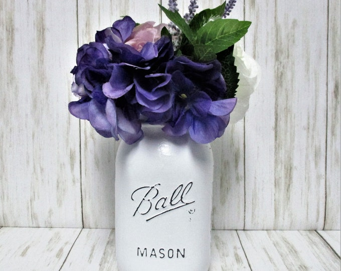 Mason Jar Centerpiece, Purple and White Flower Arrangement, Country Chic Decor, Shabby Chic Decor, Farmhouse Decor, Get Well Gift