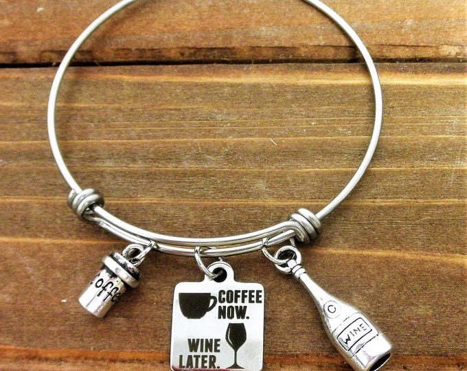 Wine and Coffee Charm Bangle Bracelet, Wine Jewelry, Coffee Lover Gift, Coffee Cup Charm, Wine Bottle Charm, Gift for Her, CHristmas Gift