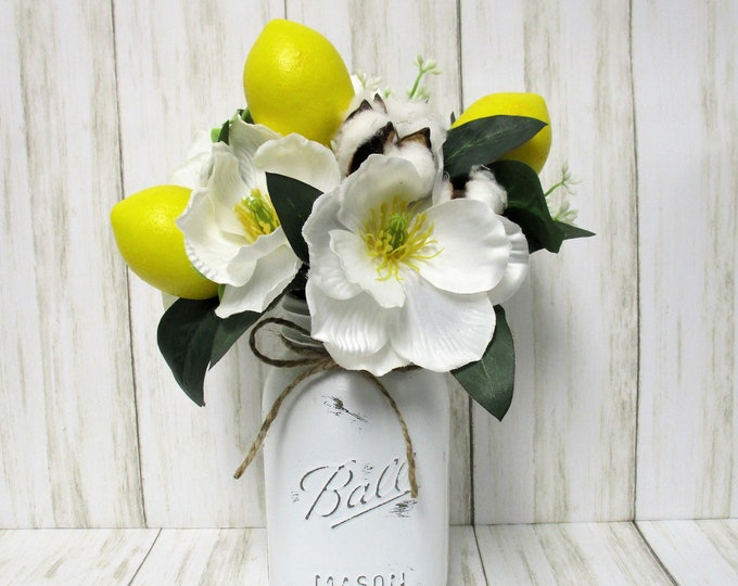 Lemon Decor Mason Jar Centerpiece, Lemons, Farmhouse Decor, Country Decor, Country Chic Decor, Farmhouse Decor