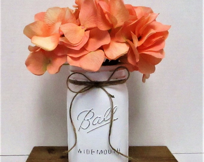 White Mason Jar Decor, Mason Jar Centerpiece, Spring Decor, Wedding Decor, Country Chic, Baby Shower, Farmhouse Decor, Easter Decor