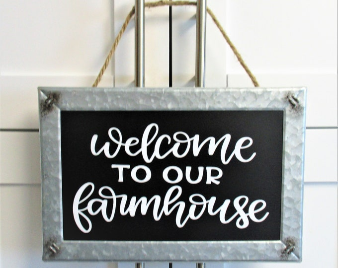 Farmhouse Welcome Wall Sign Decor, Chalkboard Galvanized Sign, Farmhouse Decor, Country Kitchen, Country Home Decor