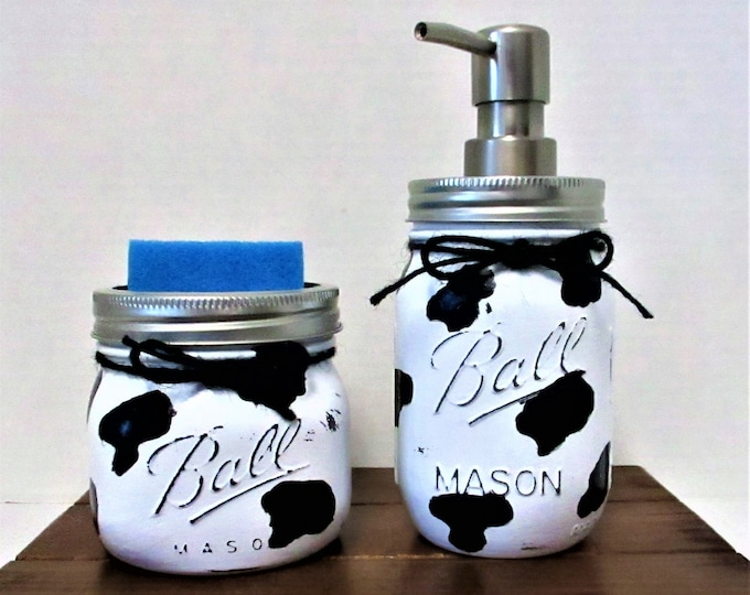 Cow Mason Jar Kitchen Set, Farmhouse Kitchen, Country Kitchen, Soap Dispenser, Sponge Holder, Cow Lover, Mothers Day Gift