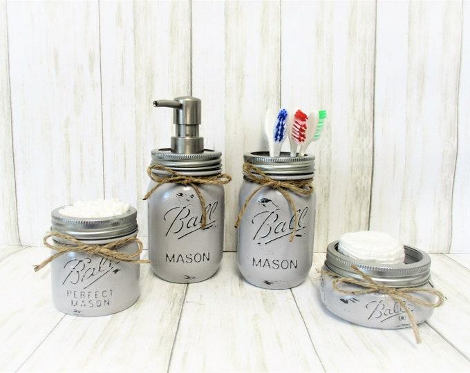Gray Mason Jar Bathroom Set, Bathroom Set, Vanity Set, Desk Set, Wedding Gift, Farmhouse Bathroom, Home Decor, Country Decor, Rustic