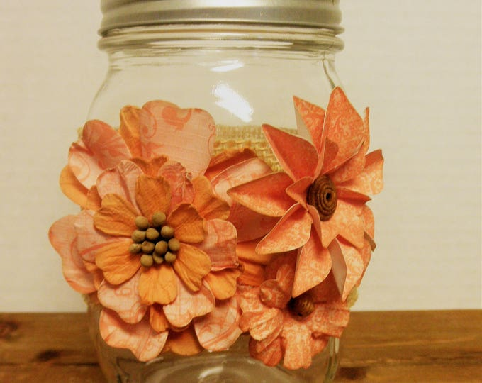 Mason Jar Decor, Floral Decor, Vase, Home Decor, Wedding Decor, Bathroom Decor, Shabby Chic Decor, Centerpiece