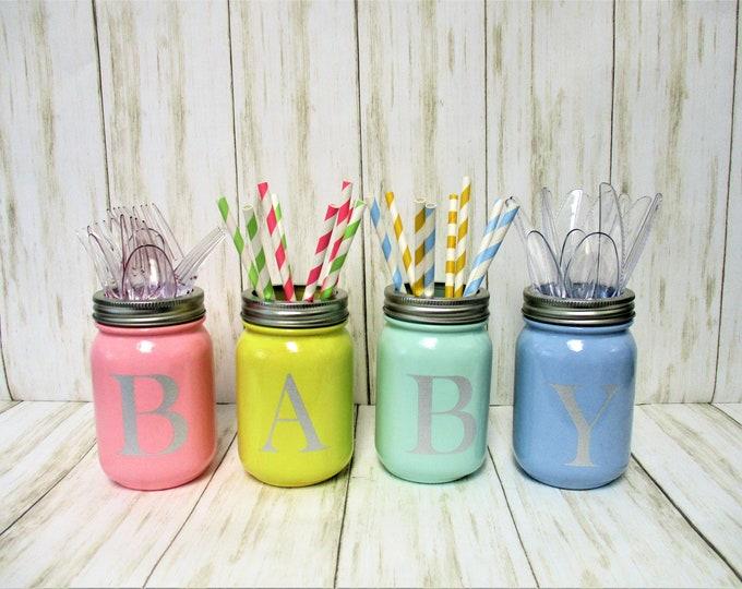 Baby Shower Gender Reveal Centerpiece Party Decorations, Utensil Holder, Centerpiece, Mason Jar Decor, Nursery Decor