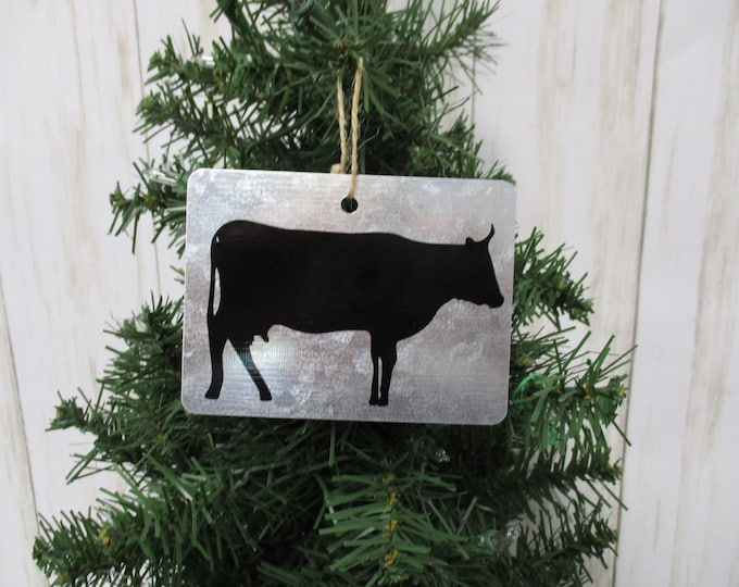 Cow Christmas Ornament, Christmas Ornament, Galvanized Christmas Ornament, Country Christmas Ornament, Cow Decor, Farm Animals