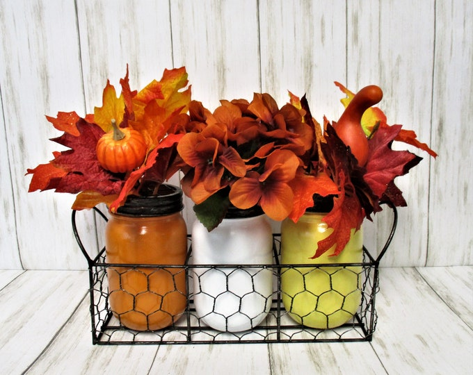 Fall Centerpiece, Flower Arrangement, Fall Mason Jar Decor, Farmhouse Decor, Country Decor, Fall Decor, Fall Flowers, Chicken Wire Decor