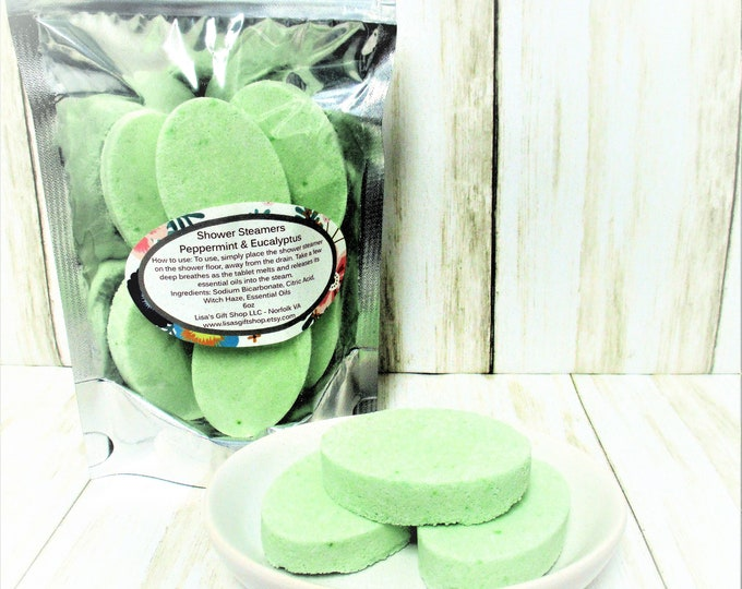 Aromatherapy Shower Steamers, Peppermint and Eucalyptus, Shower Bombs, Spa Product, Spa Gift, Bath and Body