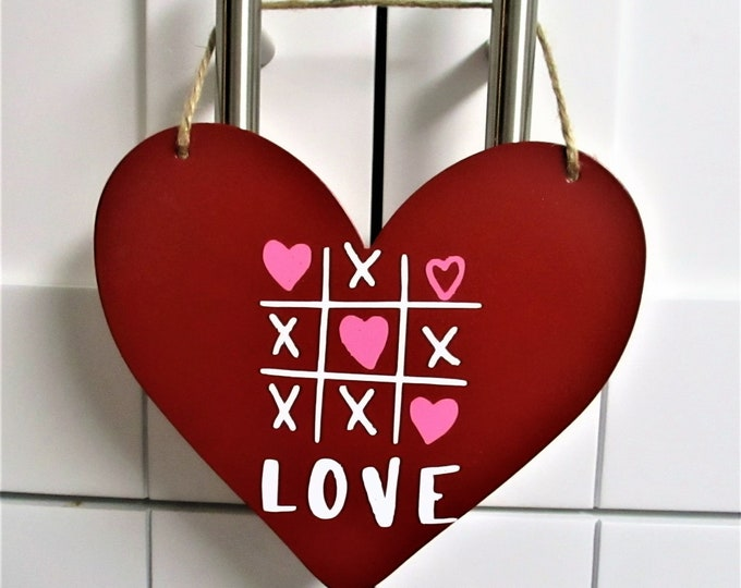 Happy Valentines Day Heart, Galvanized Heart Sign, Red Heart, Valentines Day Decor, Valentines Gift, Valentines Love, Tic Tac Toe