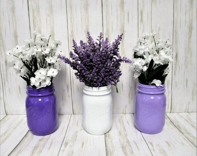 Mason Jar Decor, Party Decorations, Centerpiece, Baby Shower Decor, Wedding Decor, Bridal Shower Decor, Centerpiece, Purple Lavender White