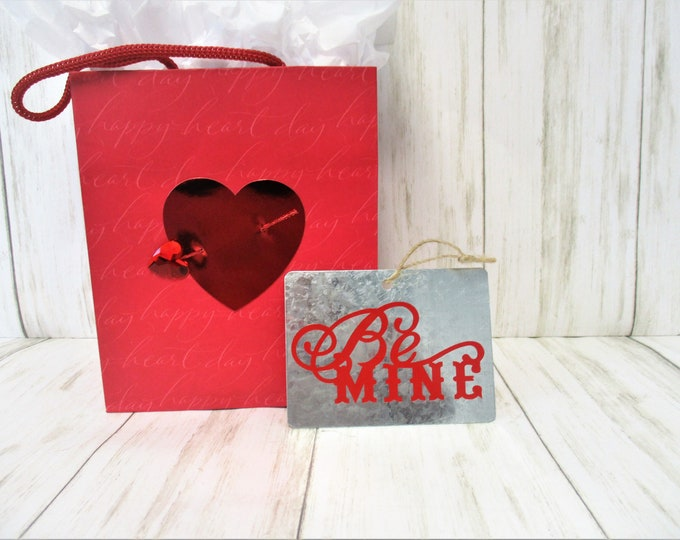 Galvanized Valentines Day Ornament, Be Mine Ornament, Valentines Day Gift, Valentines Day Decor