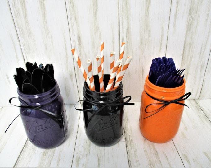 Halloween Mason Jar Centerpiece, Halloween Party Decor,  Fall Decor, Mason Jar Decor, Purple Black Orange Decor